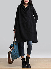 Cowl Neck Solid Pocket Shift Dress