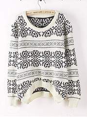 Round Neck  Floral  Long Sleeve Sweaters Pullover