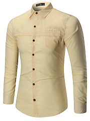 Turn Down Collar Solid Men Shirts