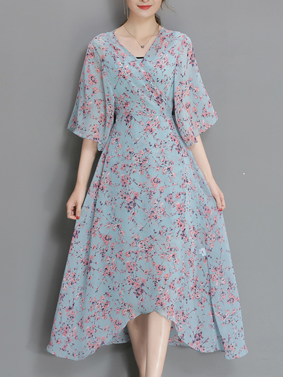 V-Neck Asymmetric Hem Floral Printed Two-Piece Maxi Dress