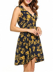 V-Neck Floral Printed Sleeveless Skater Dress