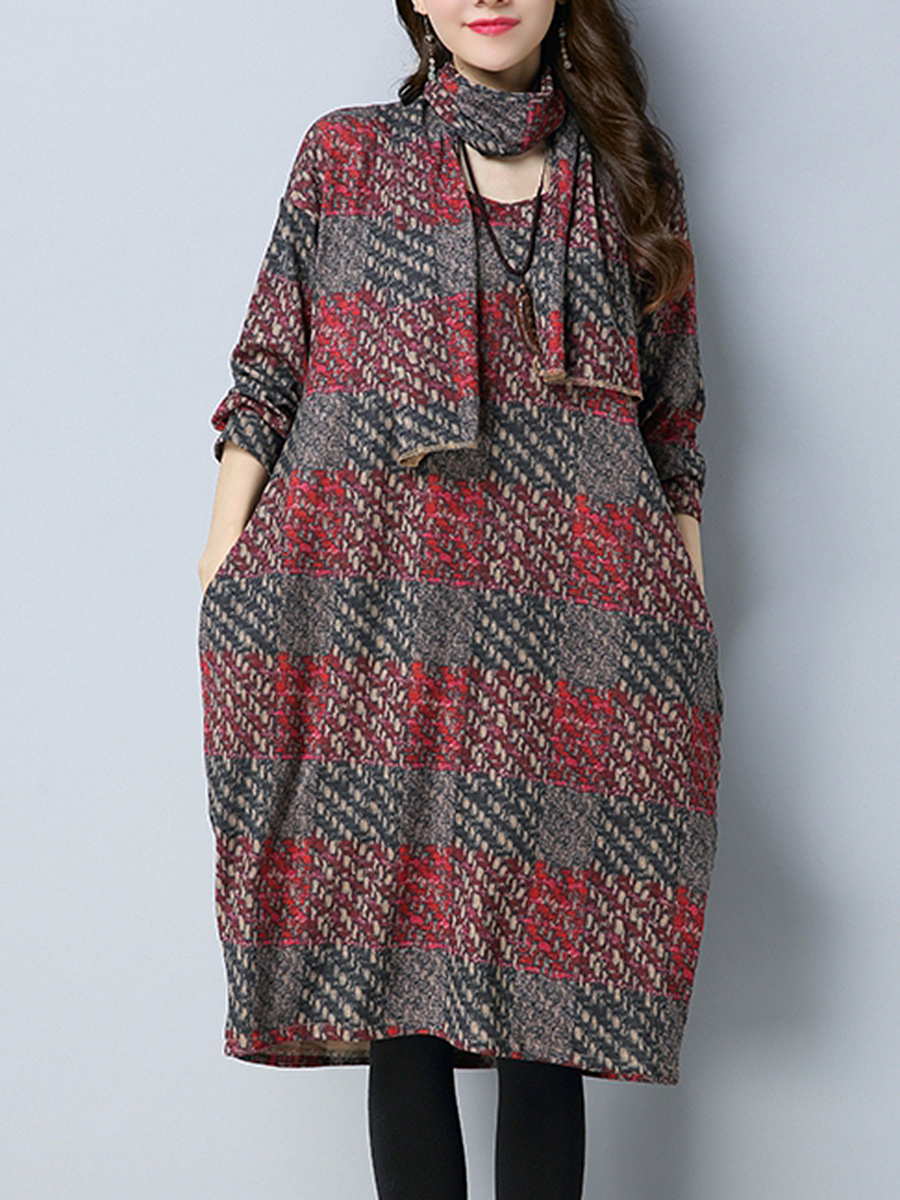 Round Neck Pocket Plaid Shift Dress With Scarf