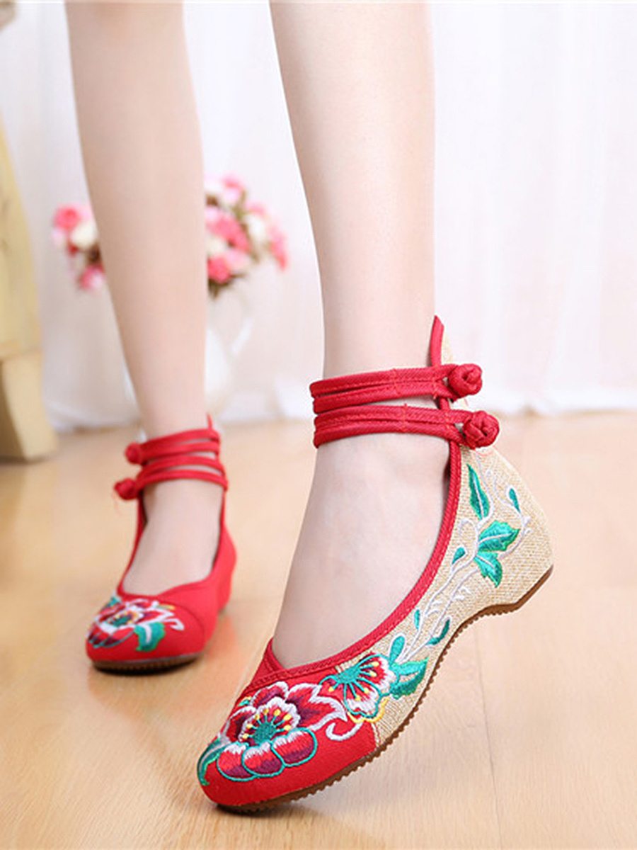 Ankle-Strap Embroidery Hidden Heel Pumps