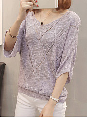 V Neck  Cutout  Plain  Batwing Sleeve Pullover