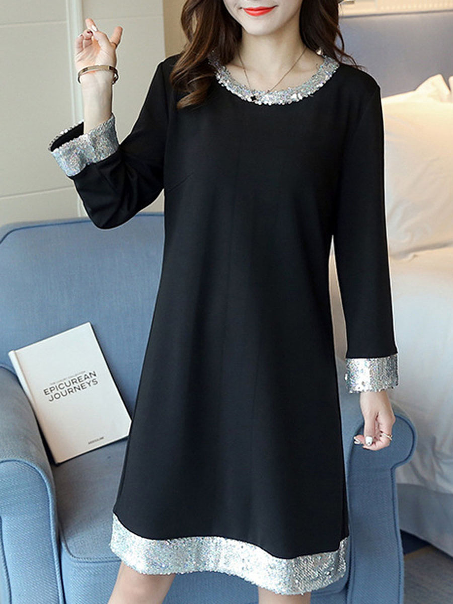 Round Neck Contrast Sequin Trim Shift Dress