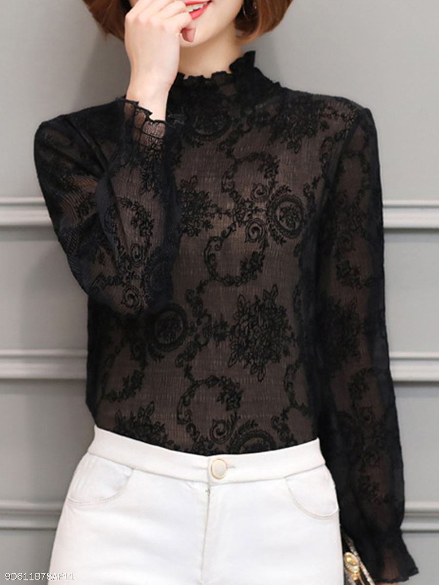Band Collar  Floral  Petal Sleeve Blouses