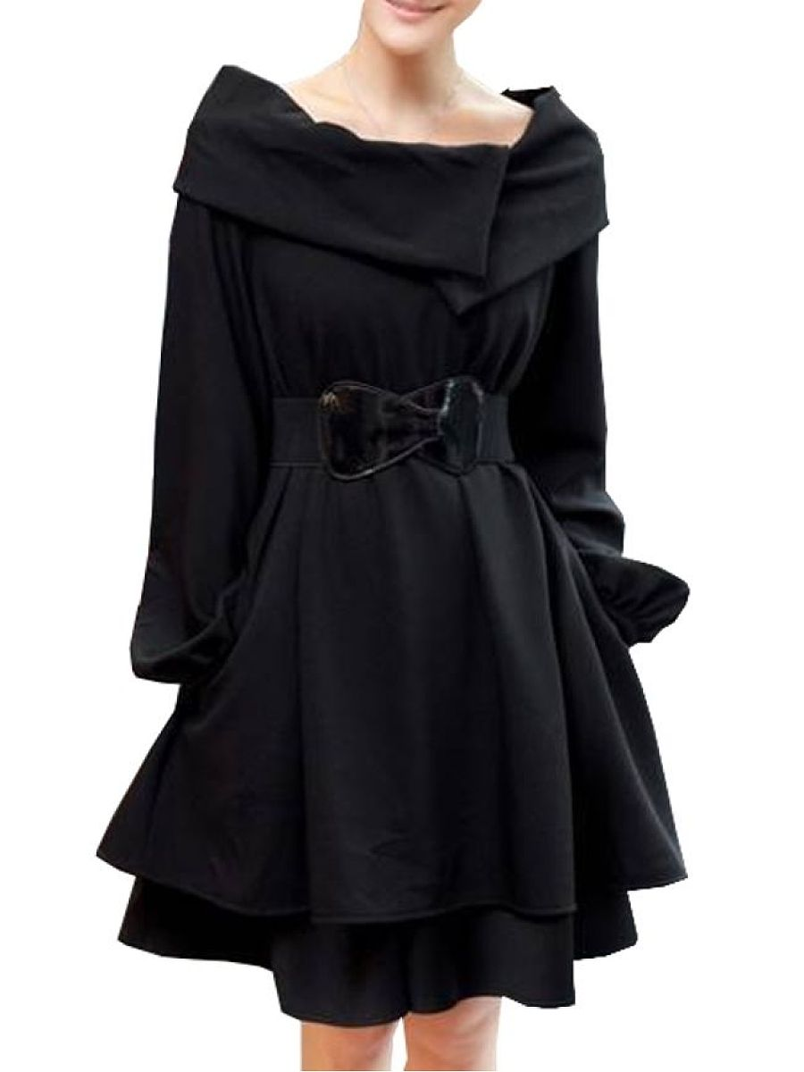 Attractive  With Belt Loose Fitting  Plain Trench-Coats