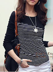 Round Neck Cotton Patchwork Striped Long-Sleeve-T-Shirt