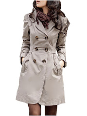 Chic Lapel Breasted With Pockets  Trench-Coats