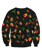 Christmas Tree Printed Round Neck Sweatshirts