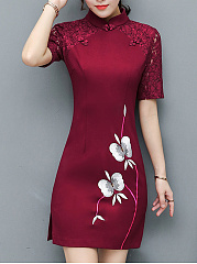 Band Collar Embroidery Hollow Out Bodycon Dress
