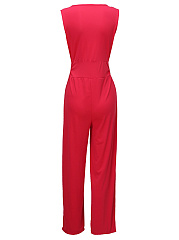 Sexy Deep V-Neck  Plain  Wide-Leg Jumpsuit