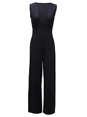 Sexy-Deep-V-Neck-Plain-Wide-Leg-Jumpsuit