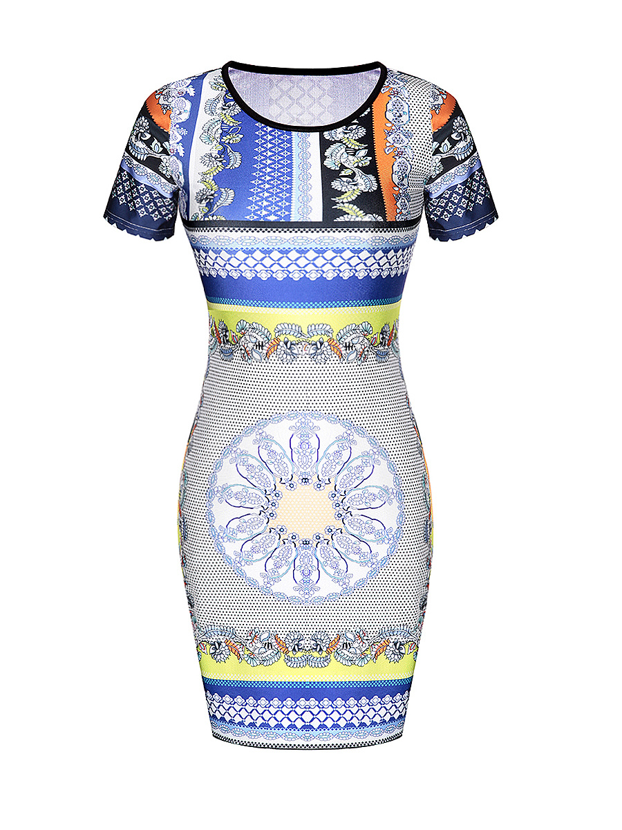 Designed Tribal Printed Round Neck Bodycon Dress