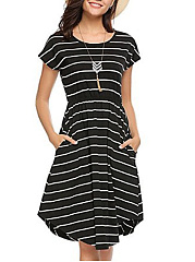 Round Neck Curved Hem Striped Skater Dress