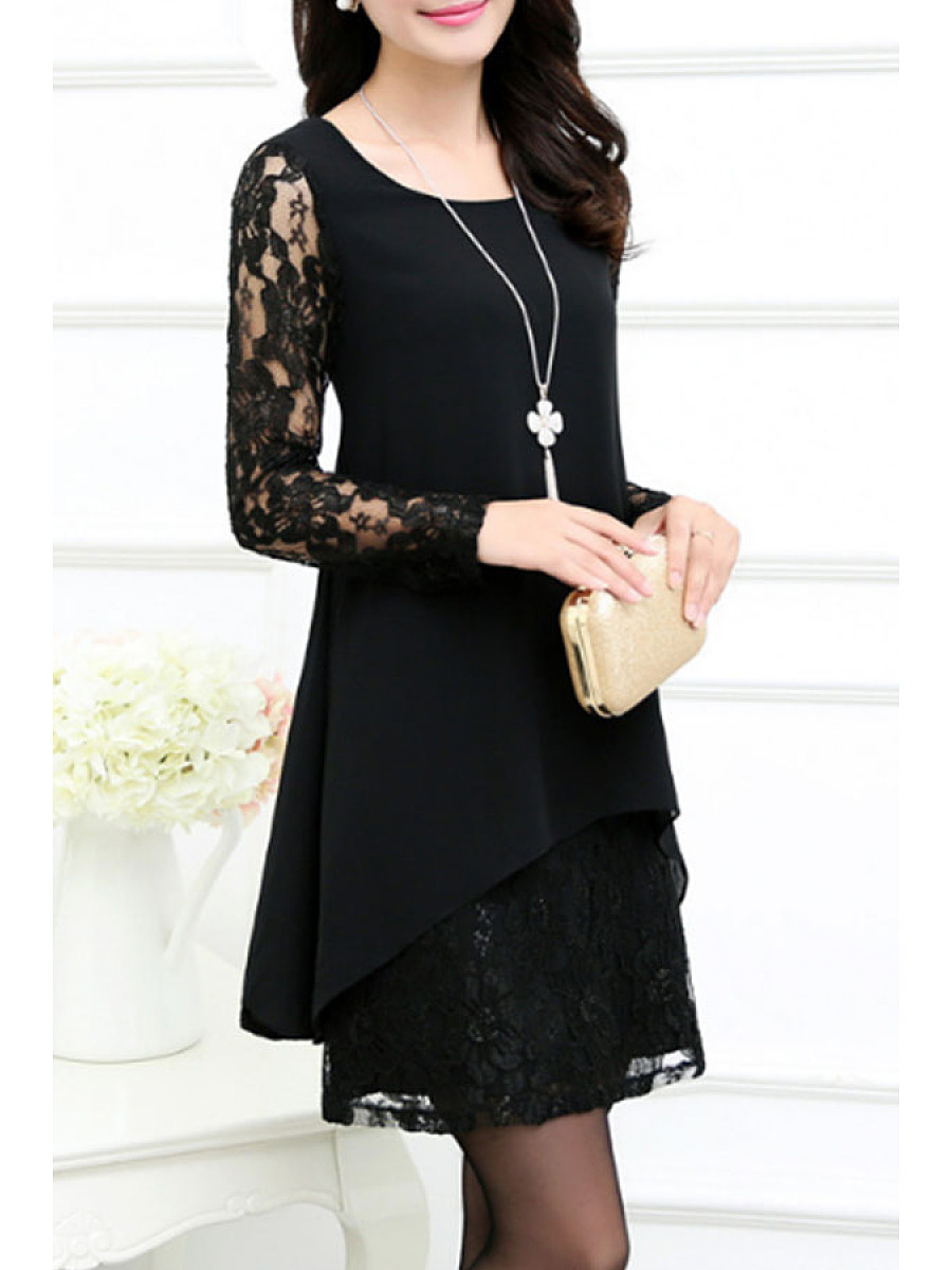 Sexy Solid Patchwork Hollow Out Shift Dress