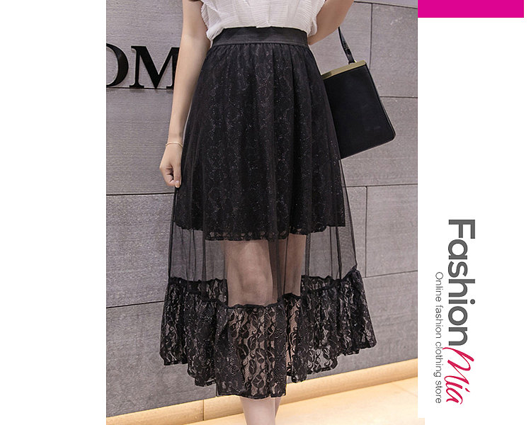 Sexy Lace See Through Plain Knee-Length Skirts For Women
