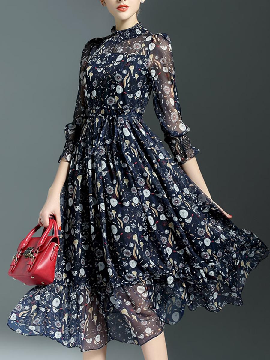 High Neck See-Through Printed Chiffon Maxi Dress