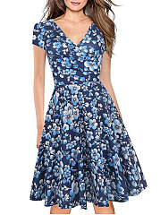 Fashion V-Neck  Printed Skater Dress