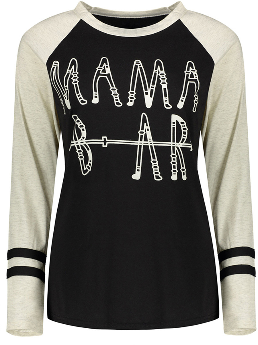Round Neck Letters Color Block Raglan Sleeve T-Shirt