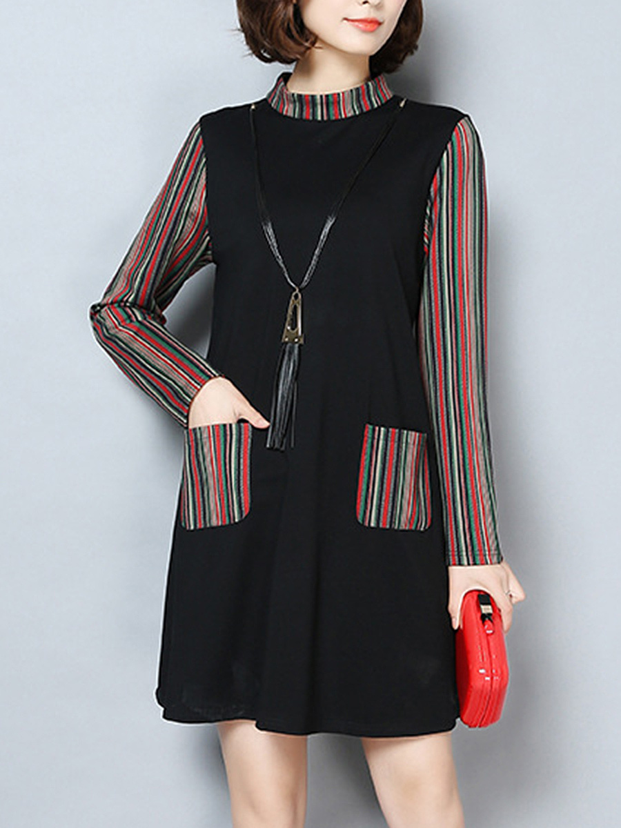 Band Collar Striped Patch Pocket Necklace Shift Dress