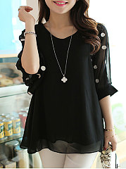 Spring Summer  Chiffon  Women  V-Neck  Hollow Out Polka Dot  Half Sleeve Short Sleeve T-Shirts