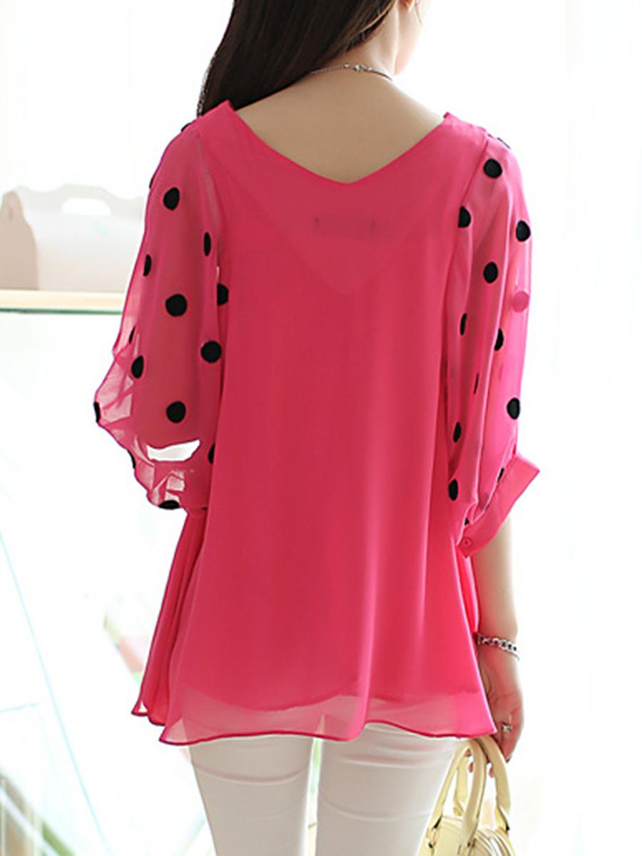 V-Neck  Hollow Out Polka Dot Chiffon Short Sleeve T-Shirt