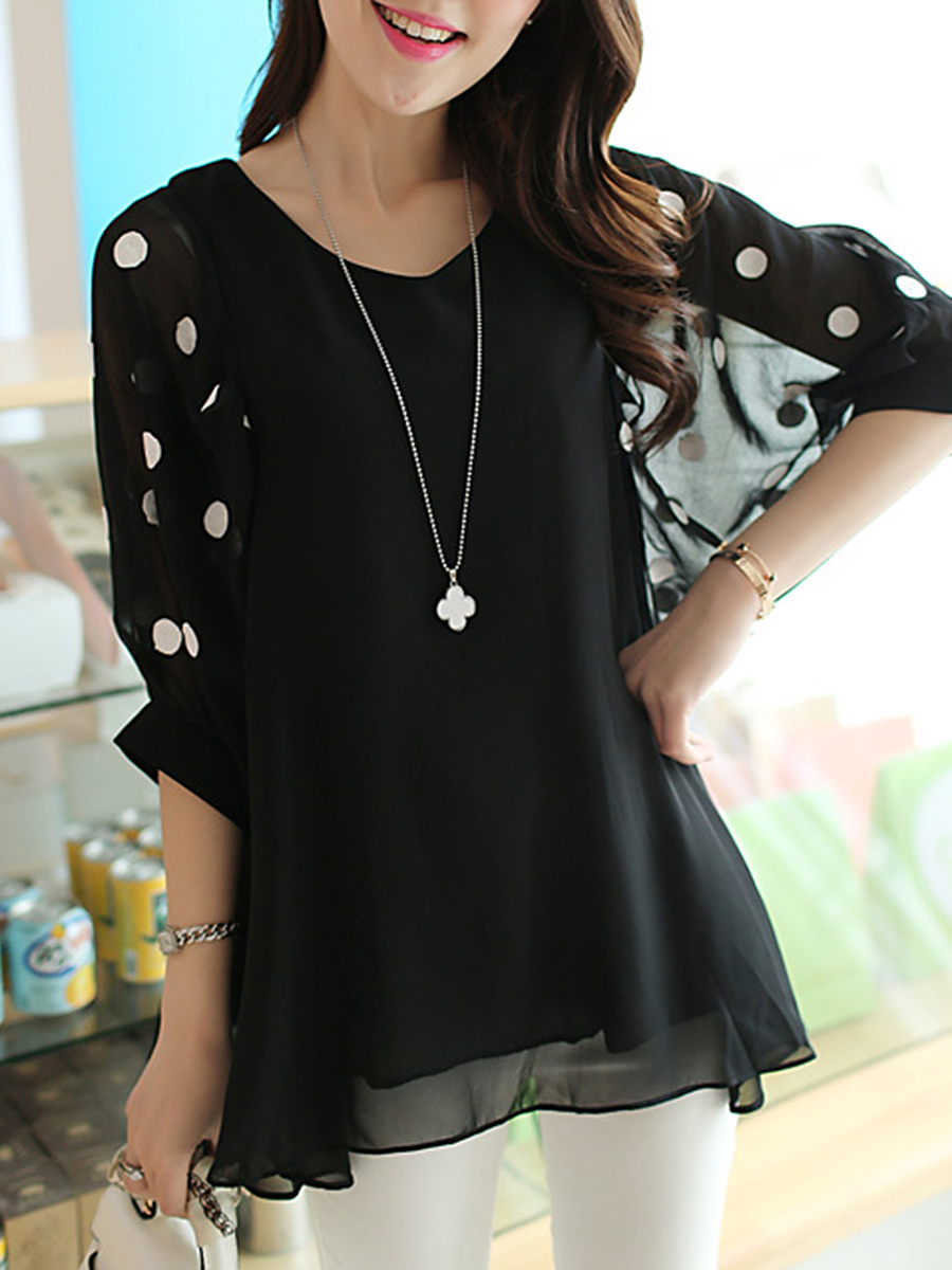 Spring Summer  Chiffon  Women  V-Neck  Hollow Out Polka Dot  Half Sleeve Blouses