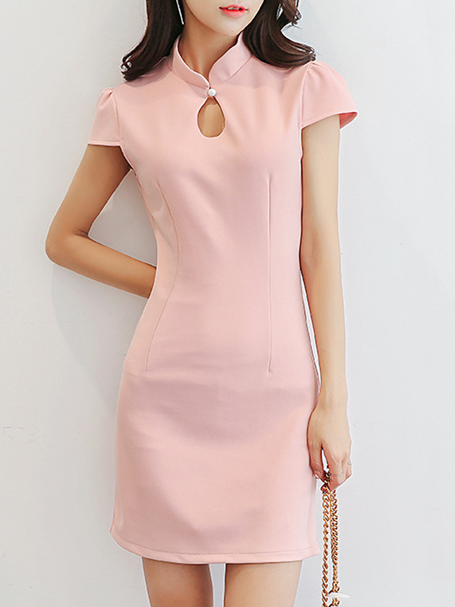 Band Collar  Keyhole  Plain Puff Sleeve Mini Bodycon Dress