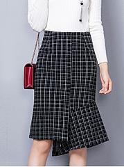 Asymmetric-Hem-Plaid-Midi-Skirt