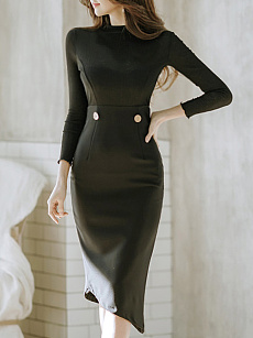 Polo Collar  Asymmetric Hem  Plain Bodycon Dress