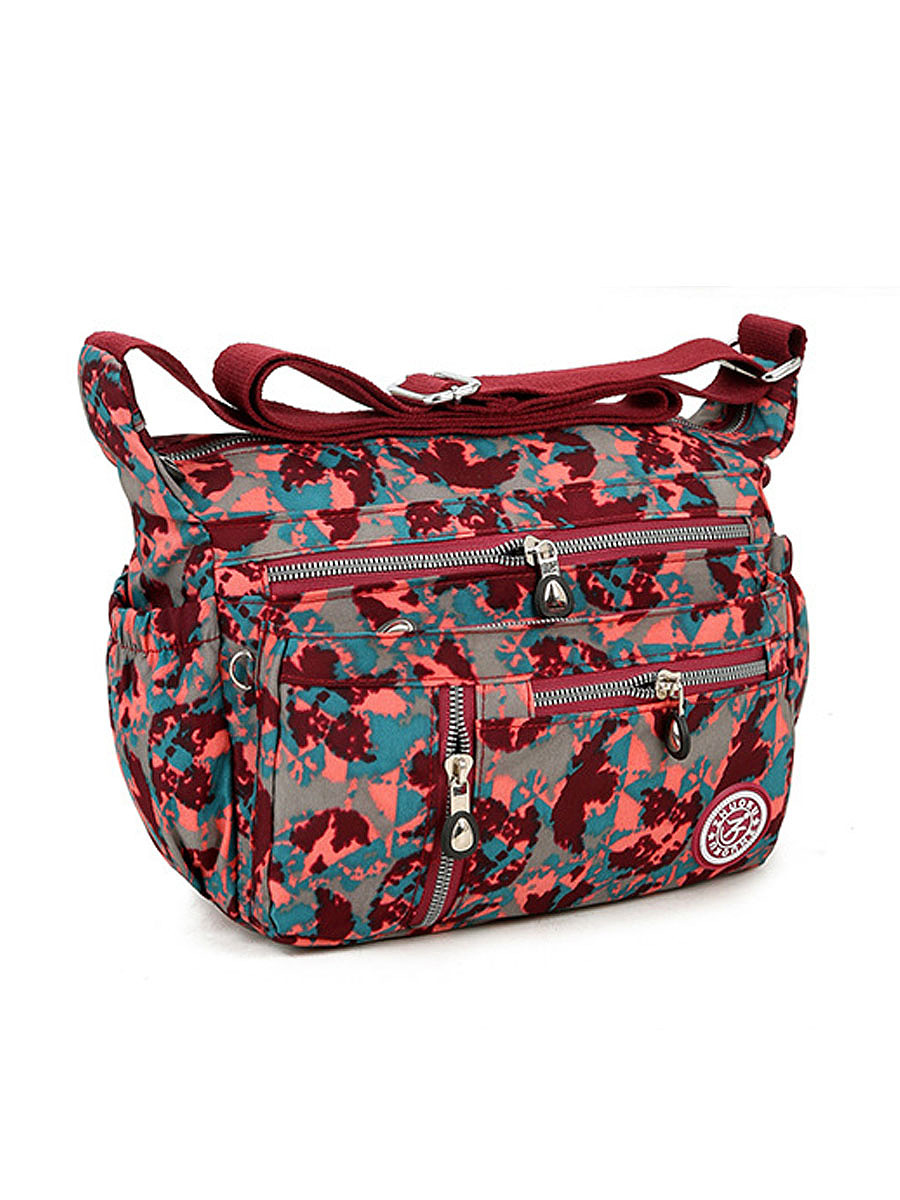 Printed Nylon Waterproof Multi-Pockets Crossbody Bag