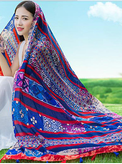 New Bohemian Fashion Floral Printed Linen Scarves