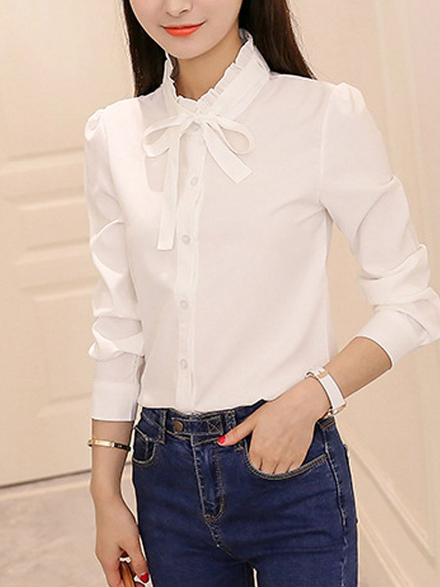 Turn Down Collar  Bowknot Single Breasted  Single Button  Plain  Long Sleeve Blouses