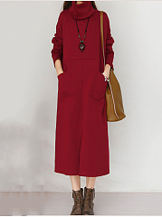 Round Neck Patch Pocket Slit Plain Scarf Maxi Dress