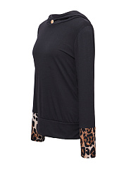 Leopard Decorative Button Hoodie
