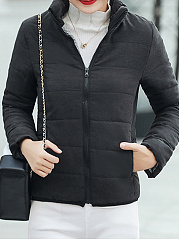High Neck  Slit Pocket Zips  Plain  Long Sleeve Coats