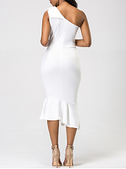 One Shoulder Plain Mermaid Midi Bodycon Dress