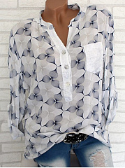 Autumn Spring  Polyester  Women  Glitter  Abstract Print  Long Sleeve Blouses