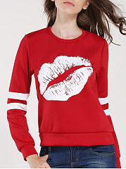 Round Neck  Contrast Piping  Printed  Long Sleeve White Lips Sweatshirts
