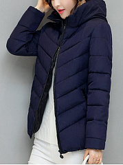 Hooded  Zips  Plain  Long Sleeve Coats