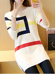 Round Neck  Side-Vented  Color Block  Long Sleeve Sweaters Pullover