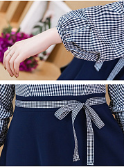 V-Neck  Belt  Colouring Plaid Skater Dress