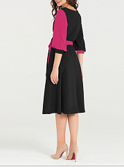 V-Neck  Belt  Color Block Colouring Skater Dress