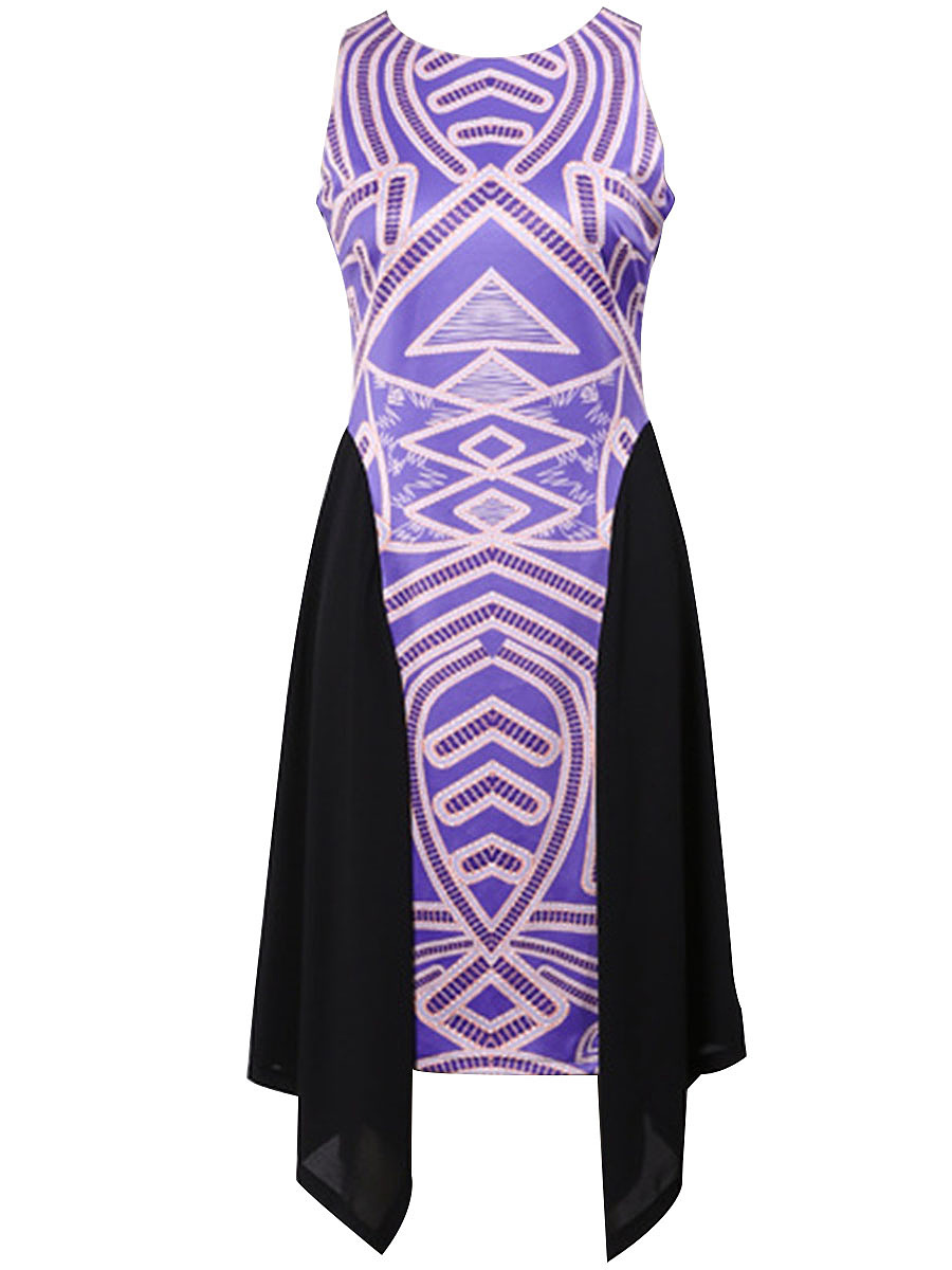 Asymmetric Hem Printed Round Neck Skater Dress