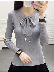 Tie-Collar-Bowknot-Plain-Sweater