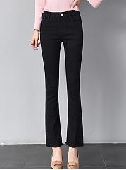 Black-Denim-Frayed-Trim-Bootcut-Casual-Pants