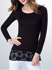 Round Neck  Decorative Lace  Plain Long Sleeve T-Shirts