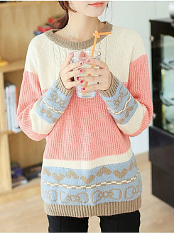 Round Neck  Patchwork  Floral  Long Sleeve Pullover