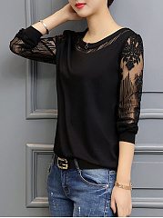 Autumn Spring  Polyester  Women  Round Neck  Floral Hollow Out Plain  Long Sleeve Blouses